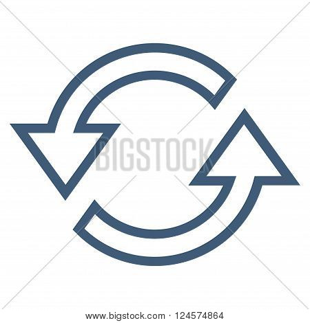 Sync Arrows vector icon. Style is thin line icon symbol, blue color, white background.
