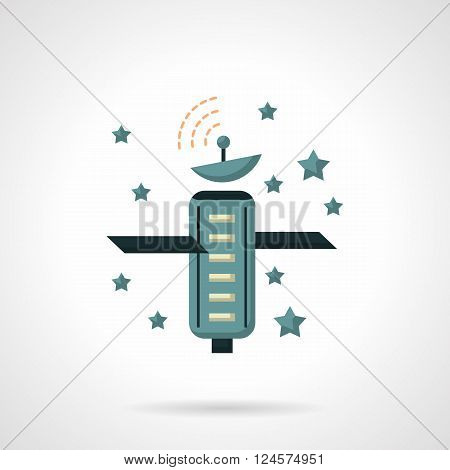 Space artificial satellite and stars. Telecommunication and navigational technology. Space research. Astronomy. Flat color style vector icon. Web design element for site, mobile and business.