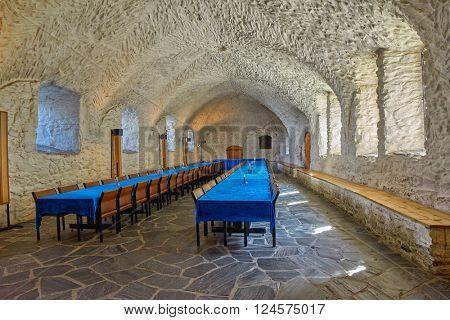 OLAVINLINNA CASTLE, SAVONLINNA FINLAND - CIRCA AUGUST 2015: Empty Royal Eatery (Canteen) in a the Olofsborg Castle in daylight