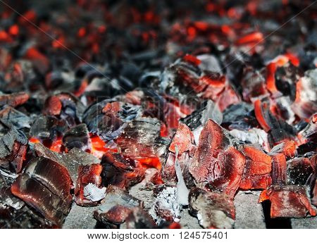 Hot red and black  embers are smoldering in oven