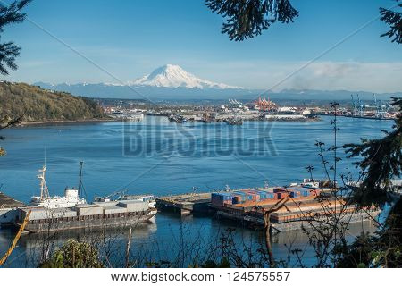 Majestic Mount Rainier towers over the Port of Tacoma.