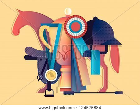 Win in equestrian sport. Horse race animal, horseback and prize, vector illustration