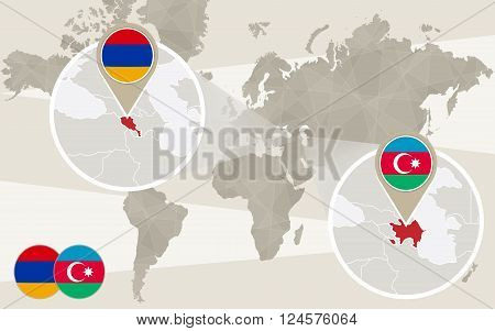 World map zoom on Azerbaijan Armenia. Conflict Nagorno-Karabakh War. Azerbaijan map with flag. Armenia map with flag. Vector Illustration.