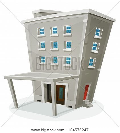 Illustration of a cartoon stone building house with levels entrance hall porch windows and back door with home or office rooms