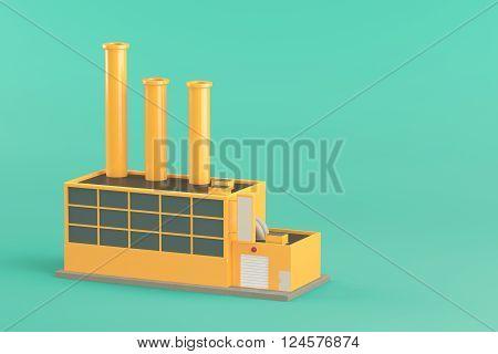 Industrial factory building on light green background. 3d render