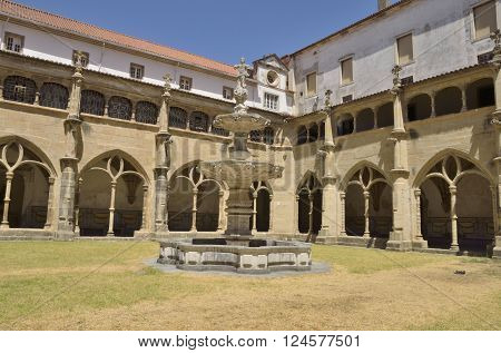 COIMBRA, PORTUGAL - AUGUST 4, 2015: Cloister of the Church of Saint Cross in the city of Coimbra Portugal
