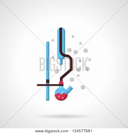 Laboratory distilling equipment and glassware. Rack with bulb and tubes. Chemical, medicine or biology research. Science and education. Flat color vector icon. Web design element for site, mobile.