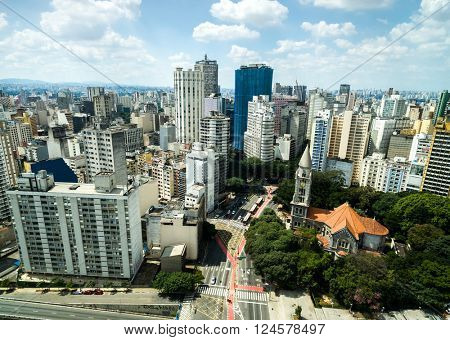 Aerial view of Sao Paulo downtown, Brazil