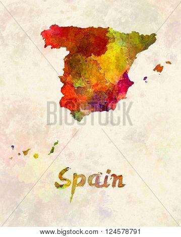 Spain in artistic abstract warm watercolor background