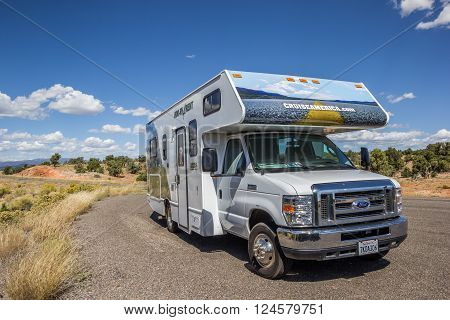 ESCALANTE, USA - OCTOBER 2, 2015: RV along highway 12 in Utah, USA