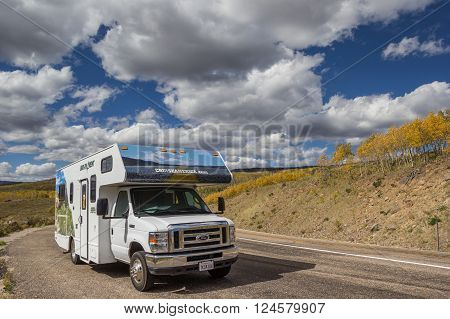 BOULDER, USA - OCTOBER 2, 2015: RV on Boulder Mountain road in Utah, USA