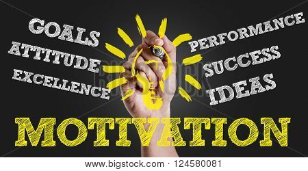 Hand writing the text: Motivation