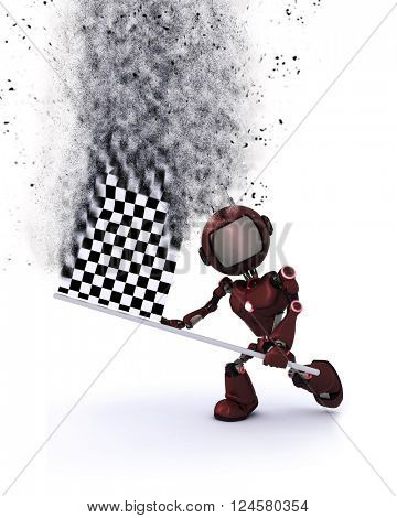 3D render of a robot with a chequered flat with speed effect