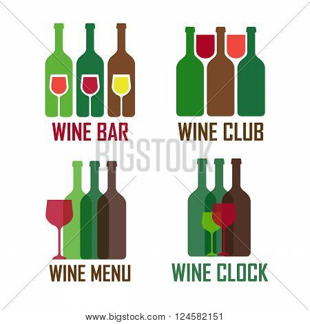 Wine shop logos set. Colofrul icons with vine wine bottles vector