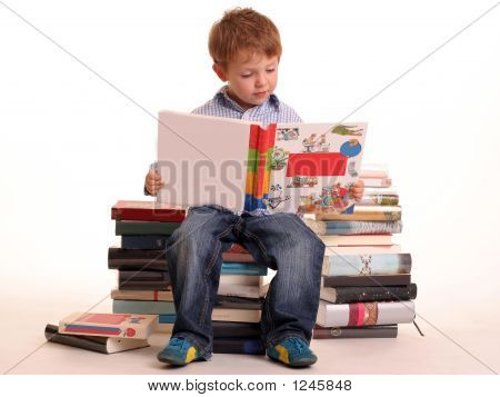Reading On A Pile Of Books