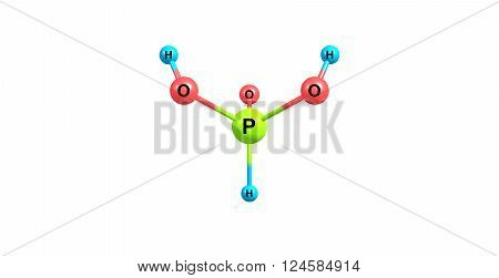 3D illustration of Phosphorous acid. It is the compound described by the formula H3PO3. Phosphorous acid is an intermediate in the preparation of other phosphorus compounds.