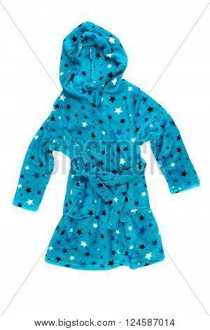 Children's blue bathrobe. Isolate on white. relaxation