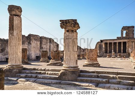 Roman archeologic ruins of the lost city of  Pompeii,  Italy