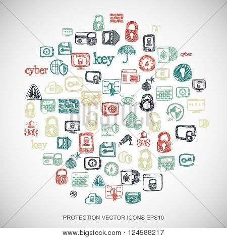 Privacy Multicolor doodles Hand Drawn Security Icons set on White. EPS10 vector illustration.