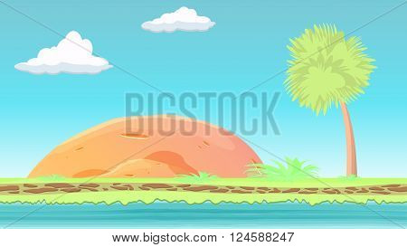 Landscape fantasy Island with stone. Paradise fantasy island with colorful shrubs. Cartoon style. Seamless grounds. Ready Parallax. Vector illustration.