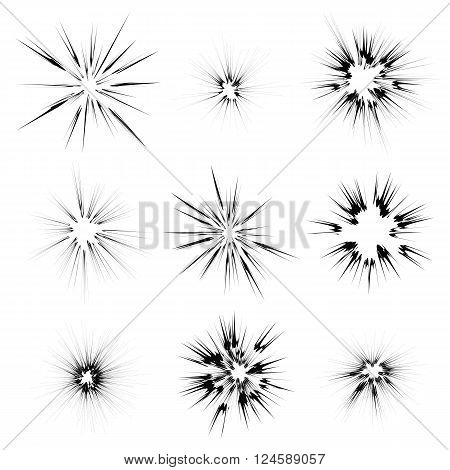 Explode Flash, Cartoon Explosion, Star Burst Isolated on White Background