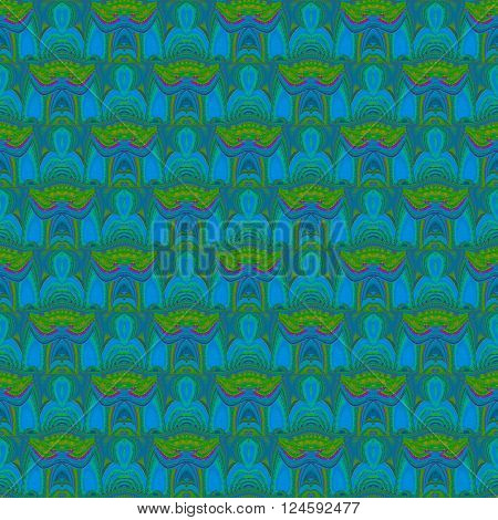 Abstract geometric seamless background. Ornate ellipses pattern with wavy lines. Elements in azure and blue gray shades, yellow, bright green and magenta.