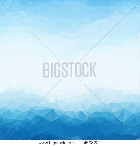 Light blue bright triangle polygon background frame. Abstract Geometrical Backdrop. Geometric design for business presentations, web template banner flyer. Illustration pattern. Glamour