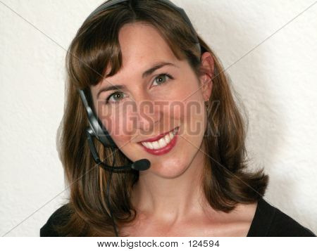 Smiling Woman With Headset