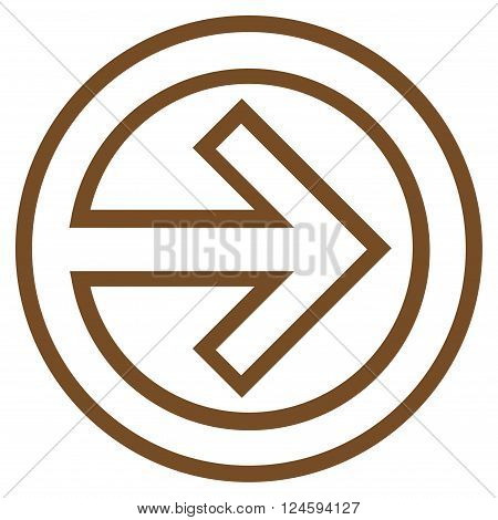 Import vector icon. Style is stroke icon symbol, brown color, white background.