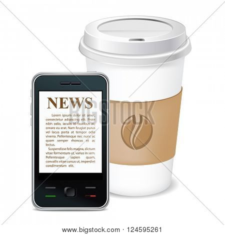 Morning coffee and news on phone. Vector icon. Isolated.
