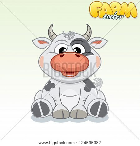 Cute Cartoon Spotty Cow. Funny Vector Animals Series