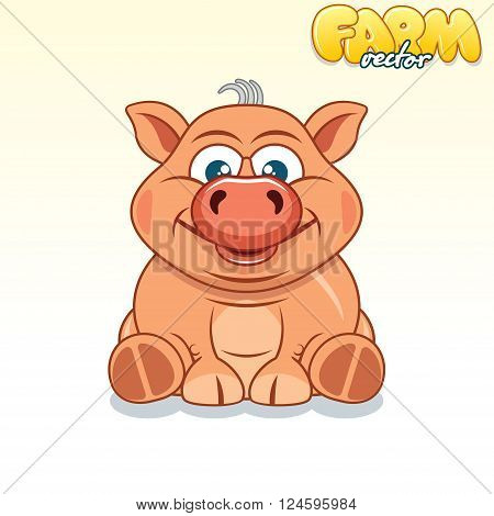 Cute Cartoon Pinky Pig. Funny Vector Animals Series