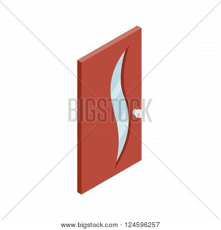 Door with glass wavelike inset icon in isometric 3d style isolated on white background