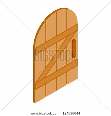 Arched wooden door icon in isometric 3d style isolated on white background