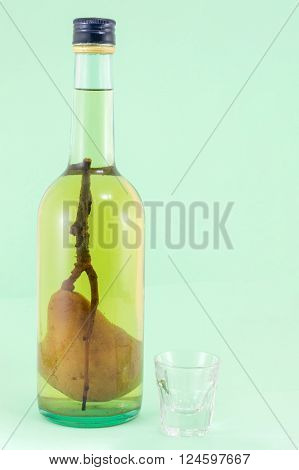 Pear Brandy With Pear In The Bottle
