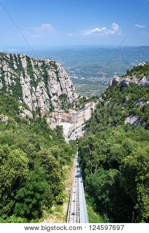 Aerial view of the Montserrat monastery. Santa Maria de Montserrat is a Benedictine abbey located on the mountain of Montserrat in Monistrol de Montserrat in Catalonia Spain