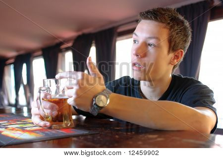 Teenager Asking For Another Beer