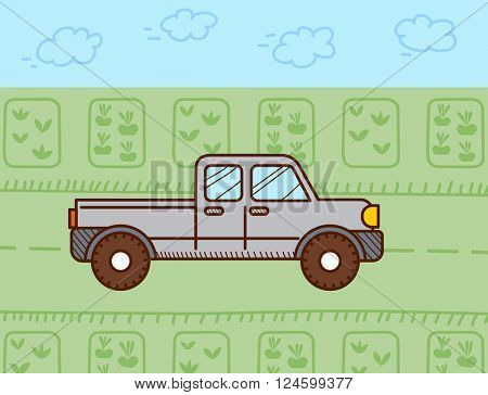 Pickup car. Vector illustration