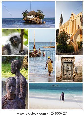 Zanzibar Tanzania - April 5 2016: Collage from 7 photos Zanzibar. Tanzania