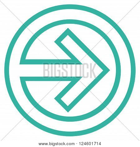 Import vector icon. Style is thin line icon symbol, cyan color, white background.