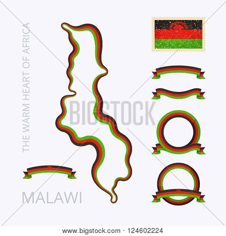 Outline map of Malawi. Border is marked with ribbon in national colors. The package contains frames in national colors and stamp with flag.