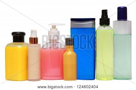 Closed Cosmetic Or Hygiene  Plastic Bottle Of Gel, Liquid Soap, Lotion, Cream, Shampoo. Isolated On White Background.