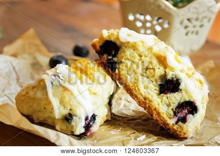 Homemade Blueberry scone breakfast close up view