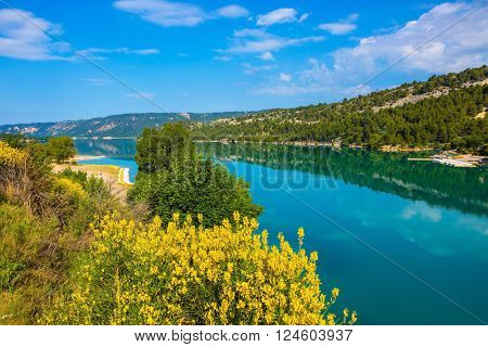 Spring Provence. The biggest mountain canyon in the French Alps - Verdon. Azure water reflects the clouds