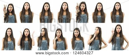 composition of a woman in different expressions