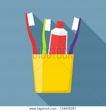 Toothbrush and Toothpaste in a glass. Toothpaste and Toothbrush isolated on blue background. Toothbrush icon. Toothbrush icon flat style. Toothpaste and Toothbrush vector illustration