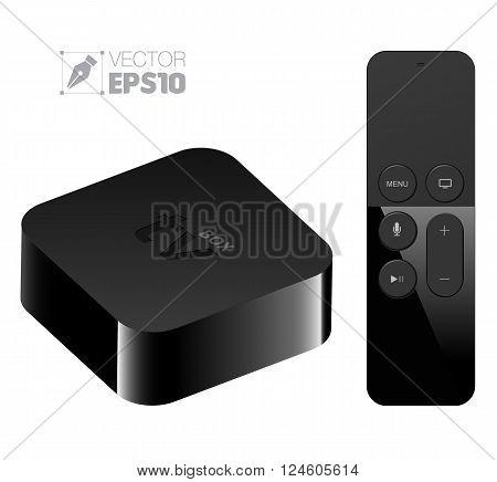 Digital media player setup box with remote . Vector illustration.