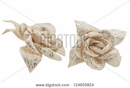Isolated photo of fabric golden roses on white background front & side view.