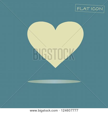 Flat heart icon. Light yellow heart on dark blue background. Icon vector