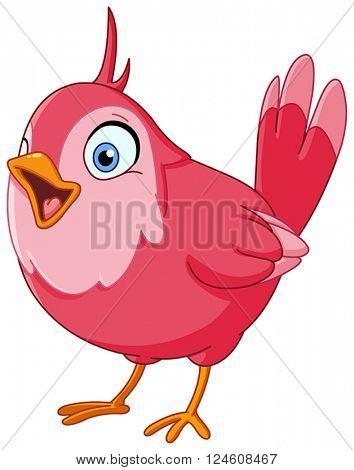 Pink bird singing